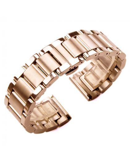 Браслет 16 мм литой золотистый розовое золото