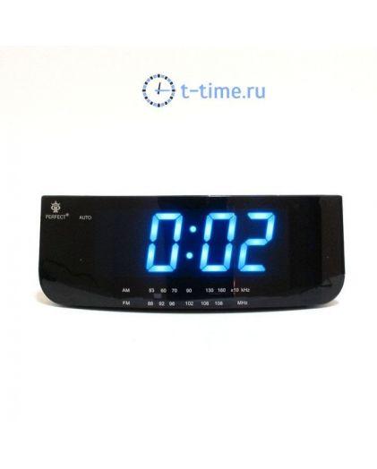 Часы сетевые Perfect 1826 Black-Blue RD 24