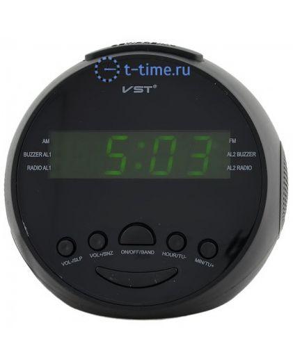 Часы сетевые VST909-2 часы 220В+ радио зел.цифры-30