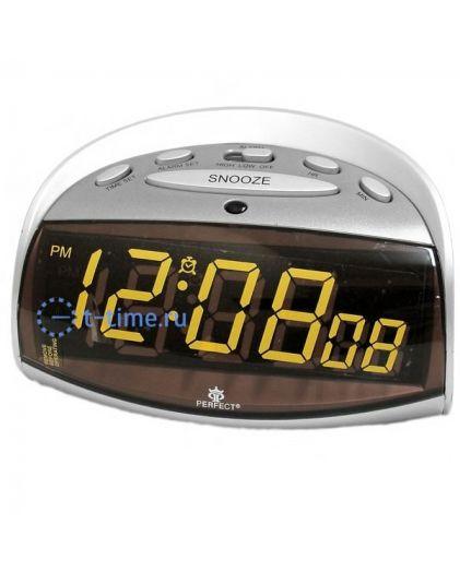 Часы сетевые Perfect E102 silver amber