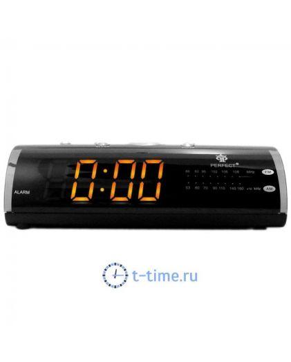 Часы сетевые Perfect 1626 Black-Amber RD 24
