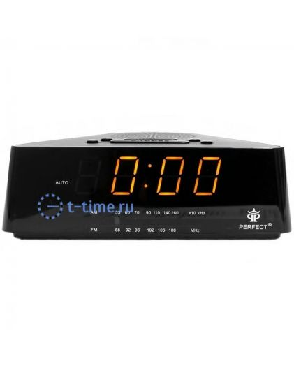 Часы сетевые Perfect 433 Black-Amber RD 24