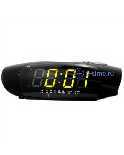 Часы сетевые Perfect 1726 Black-Amber RD 24