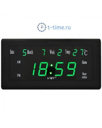 Часы сетевые Vst VST795W-4 часы 220В зел.цифры с б.п. (дата,температура)+блок-10