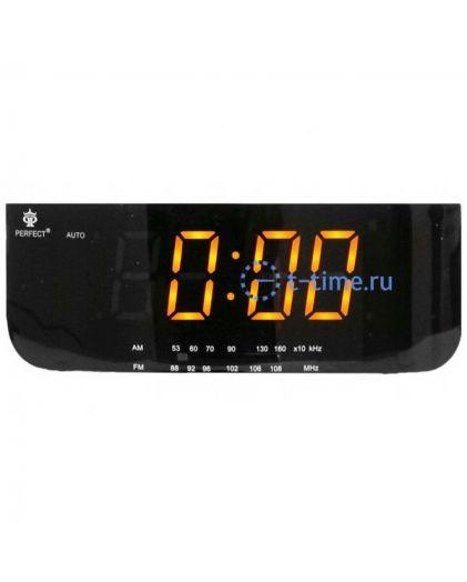 Часы сетевые Perfect 1826 Black-Amber RD 24