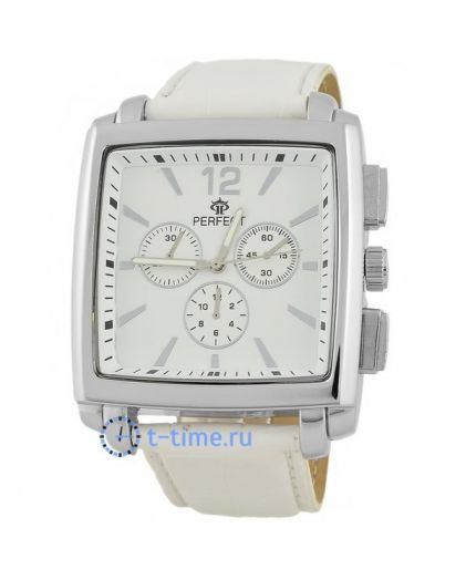 Часы PERFECT 143 W корп-хр,циф-бел, рем бел