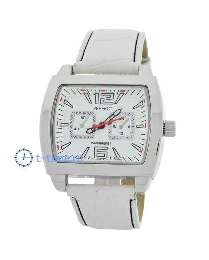Часы PERFECT 200 W корп-хр,циф-бел, рем бел