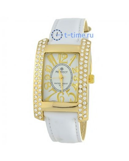 Часы PERFECT 160 J корп-желт,циф-бел.рем-бел.