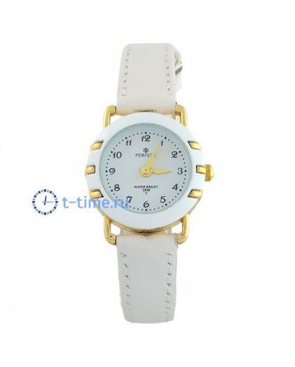 Часы PERFECT 033 LP корп-жел,циф-бел, рем бел. обод. бел.