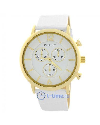 Часы PERFECT 245 E корп-желт,циф-бел,рем бел
