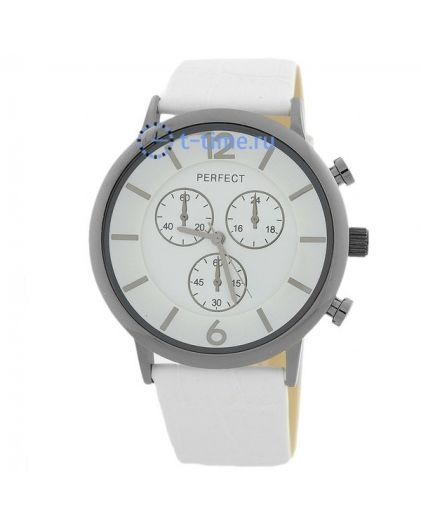 Часы PERFECT 245 E корп-чер,циф-бел, рем бел