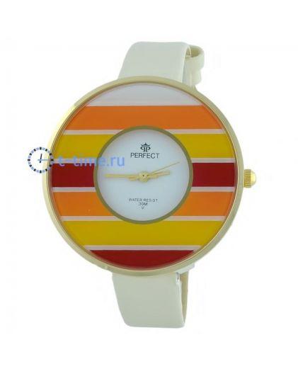 Часы PERFECT 186 E корп-желт,циф-бел, рем беж