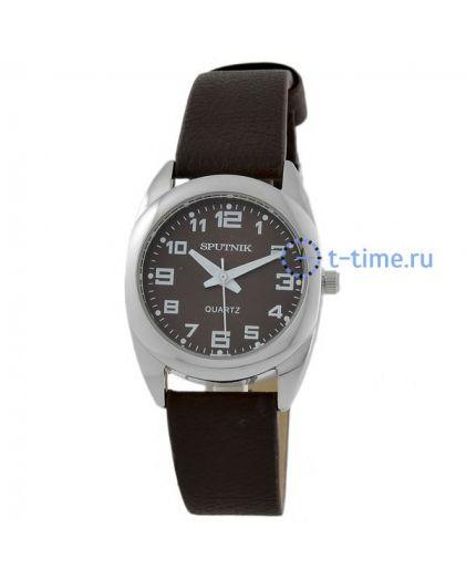 Часы СПУТНИК 200550 Л корп-хр, циф-кор, рем-кор