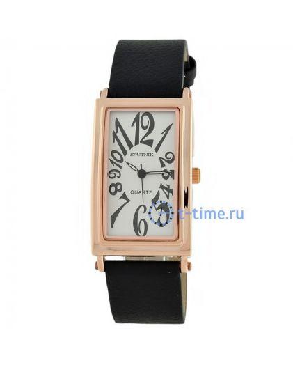 Часы СПУТНИК 200760 корп-роз, циф-сер, рем-чер