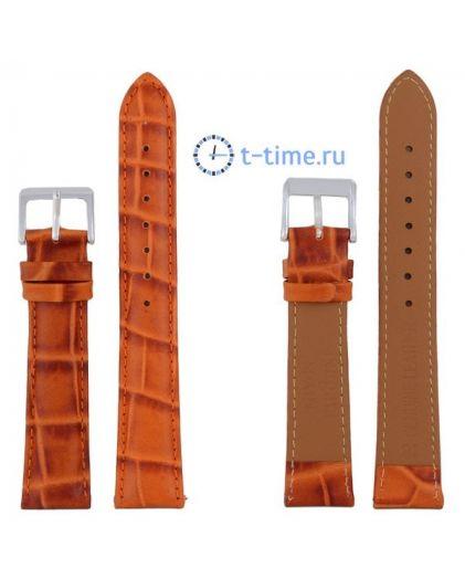 Nagata 18 мм оранж-кор croco с серебряной застёжкой ремень