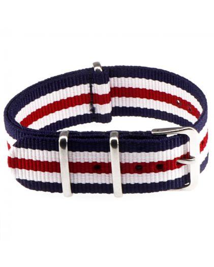 "Ремешок Zulu ""Nato"" текстильный 20 мм blue+red+white"