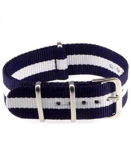 "Ремешок Zulu ""Nato"" текстильный 20 мм blue+white"