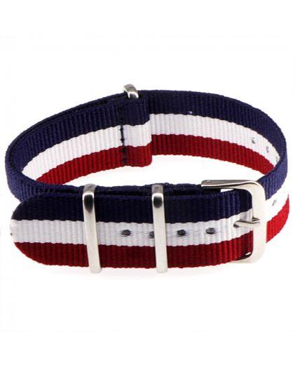 "Ремешок Zulu ""Nato"" текстильный 22 мм blue+red+white"