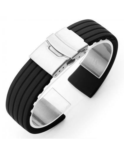Ремешок каучук клипса 24 мм черный