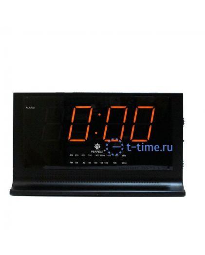 Часы сетевые Perfect 1426 Black-Amber RD 24