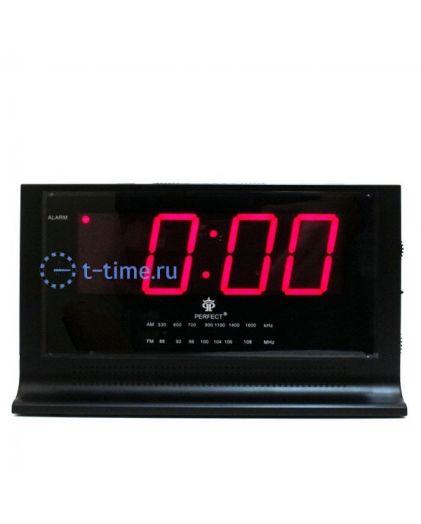Часы сетевые Perfect 1426 Black-Red RD 24