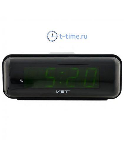Часы сетевые Vst VST738-2 часы 220В зел.цифры-40