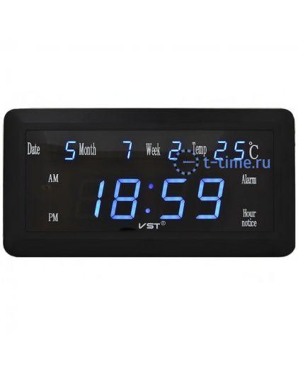 Часы сетевые Vst VST780W-5 часы 220В син.цифры с б.п. (дата,температура)+блок-10