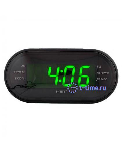 VST 902-2 часы 220В+ радио ярко зел.циф