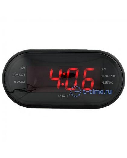 Часы сетевые Vst VST902-1 часы 220В+ радио красн.цифры+ блок-40