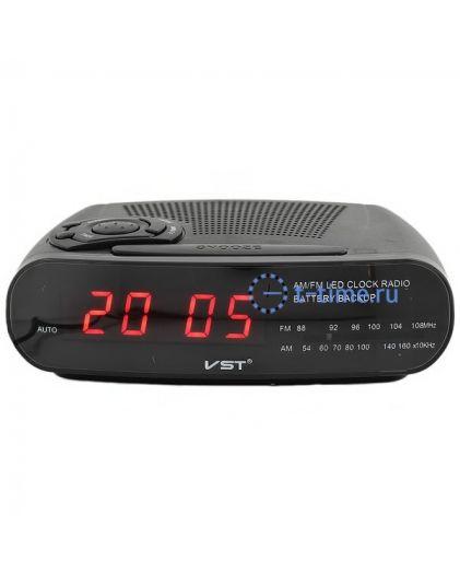 Часы сетевые Vst VST906-1 часы 220В+ радио красн.цифры-30