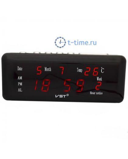VST762WX-1 часы 220В красн.цифры (дата,температура)-30